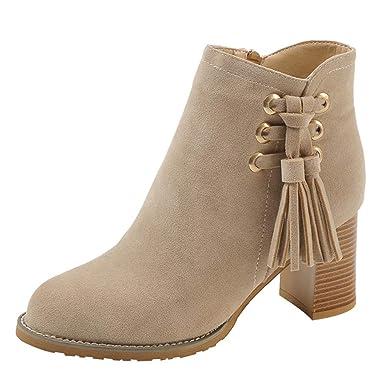 MOIKA Damen Boots Mode Frauen Runde Kappe High Heel Schuhe Quaste Wildleder  Damen Stiefel Reißverschluss Boot Winter Sexy Knie Stiefel  Amazon.de  ... 1ed76f823c