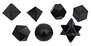 HARMONIZE Black Tourmaline Stone 7 Pieces Sacred Geometry Sets Reiki Healing Crystal Spiritual Gift