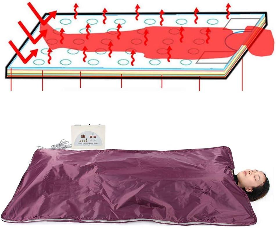 wosume Sauna Blanket,Body Steamer, Digital Heated Home Infrared Sauna Blanket, Far Infrared Detox Sauna Heating Blanket Anti Aging Machine for Spa Home Salon(Wine)