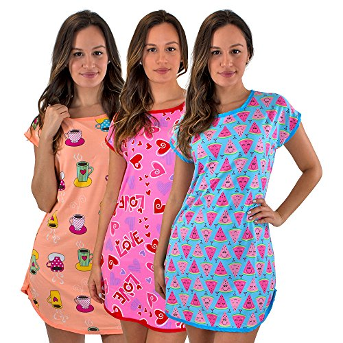 3 Pack: Short Sleeve Nightshirt/Nightgown For Women Short Length,Orange Coffee,Blue Watermelon,Pink Love-Set 4- XXL (For Sleepwear Nightshirts Women)