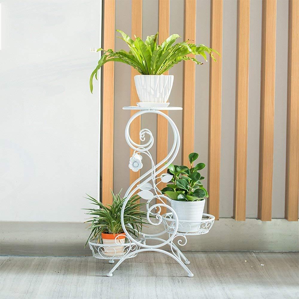 IG Fioriera Stand per Fiori in Ferro Art Floor Floor a più Strati Balcone per Interni e per Esterni Fiori Verdi (32  65Cm),3