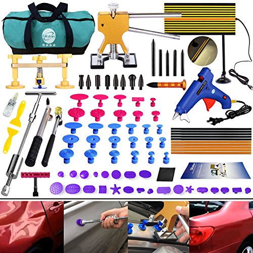 Gliston 89 PCS Pro Paintless Dent Removal Tools Kits PDR Slider Hammer Dent Puller Kits Golder Dent Lifter LED Reflector Board Tool Bag for Car Hail Damage Remover