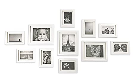 Ray & Chow Photo Picture Frame Wall Set White - 11 Frames - Glass ...