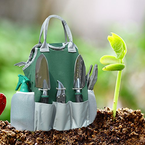 Auelife Garden Tools Set, 11 Pieces Rust Resistant Aluminum Alloy Gardening Kit with Non-Slip Handle -Durable Storage Tote Bag and Adjustable Canvas Gardening Apron-Garden Gifts for Men and Women by Auelife (Image #4)