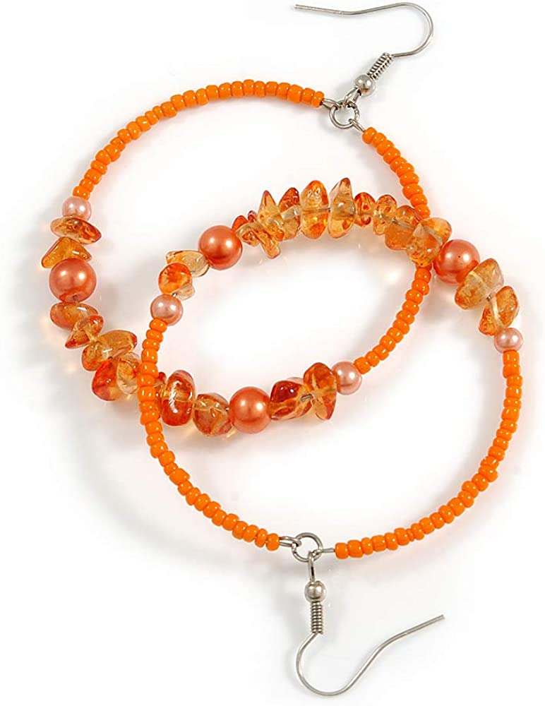 Pendientes de aro de cristal de 50 mm, color naranja/melocotón, perlas de imitación, piedra semidreciosa, en tono plateado