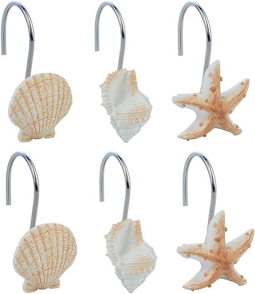 12Pcs Bathroom Seashell Starfish Conch Shower Curtain Decorative Hook Home Decor