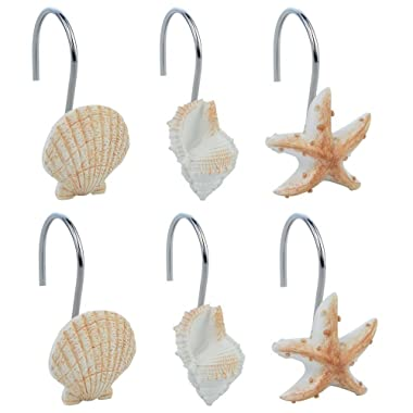 baotongle 12 PCS Seashell Shower Curtain Hooks Bathroom Beach Shell Decor (Seashell: Light Brown; Starfish: Tan; Conch: Light Brown)