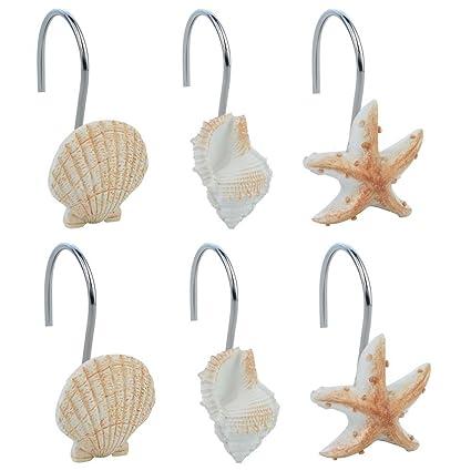 Baotongle 12 PCS Seashell Shower Curtain Hooks Bathroom Beach Shell Decor Light Brown