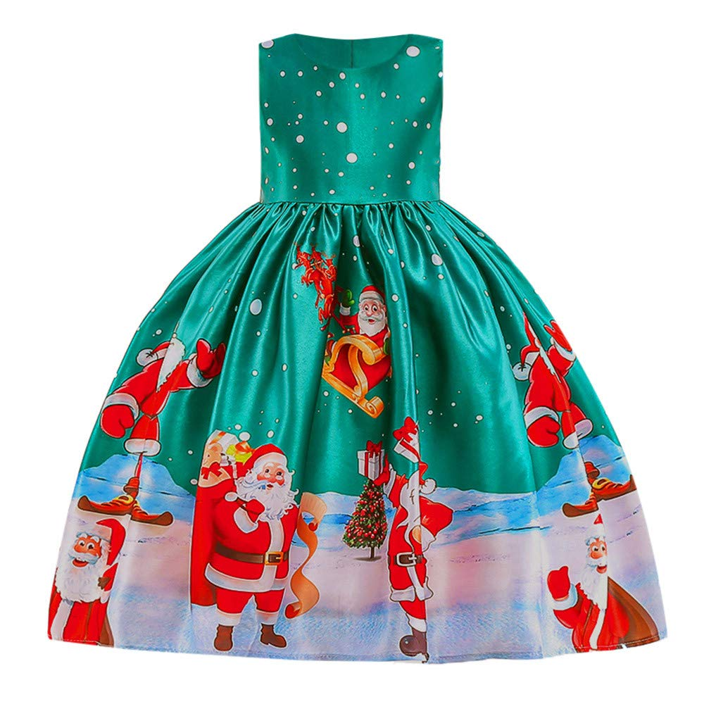WEXCV M/ädchen Spitze Weihnachten Schneemann Drucken Kleider S/ü/ß Elegant Kinderkleidung Prinzessin Anziehen Hochzeit Festlich Festzug Kleidung
