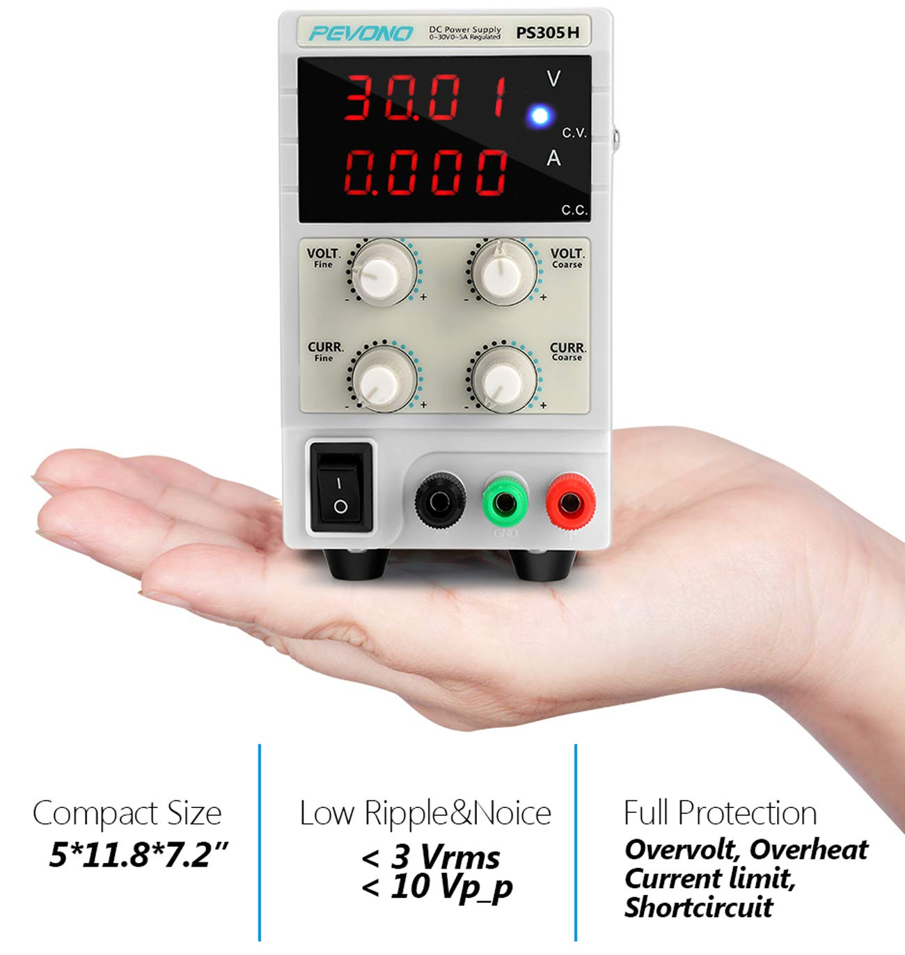Best DC Bench Power Supply, Pevono PS305H 30V/5A 4 Digital LED Desktop Switching Variable Power Supply Voltage&Current Regulated Supply Power Source For Lab Repair,Electronic Tester, Power Calculator by Pevono (Image #7)
