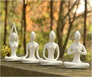 OwMell Lot of 4 Meditation Yoga Pose Statue Figurine Ceramic Yoga Figure Set Decor (White Set)