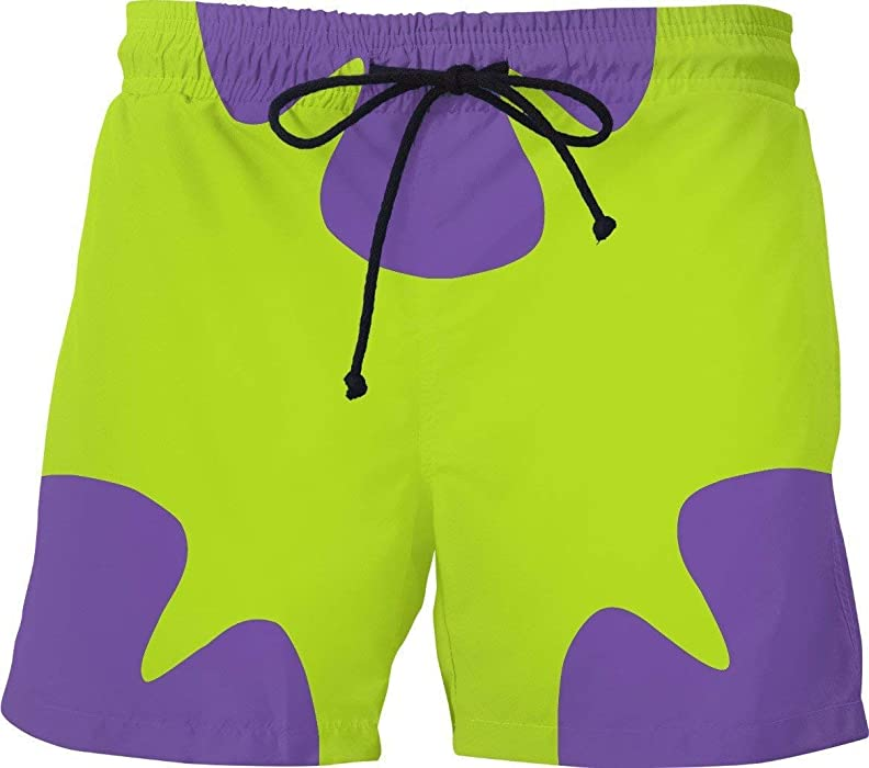 08a4789d13ad1 Amazon.com: Funny Mens Swim Trunks Patrick Star 90's Fashion TV Shows  Cartoon Mesh Lining: Clothing