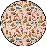 Printing Round Rug,Yoga,Flexing and Stretching Fox Meditation Cute Little Cartoon Animals Dotted Background Mat Non-Slip Soft Entrance Mat Door Floor Rug Area Rug For Chair Living Room,Multicolor