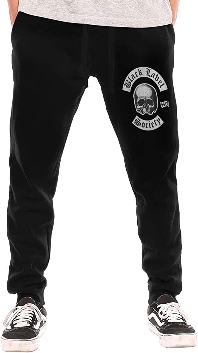 Mens Black Label Society Casual Jogger Light Weight Closed Bottom Basic Sweatpant Black