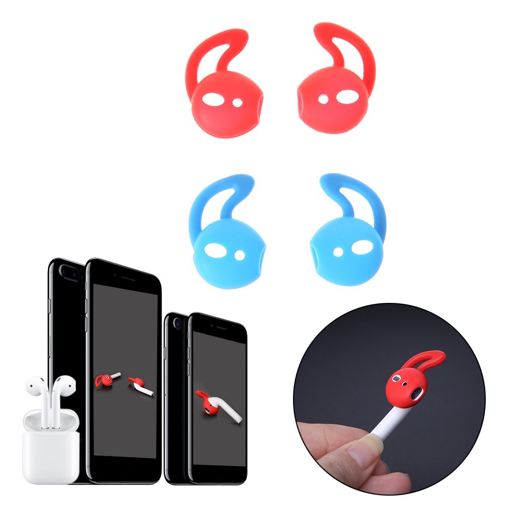 Yasheep Fashion silicone auricolari con gancio –  Clip 2 paia (4 pezzi) CAT Ear sostituzione auricolari in silicone –  blu & rosso