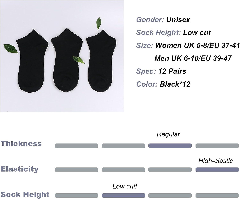 blanco//gris//negro Caudblor 12 Pares Show calcetines de corte bajo de algod/ón para hombres y mujeres