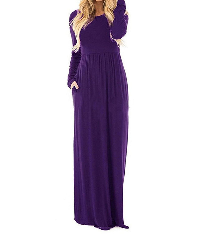 better-caress Women Dress O Neck Casual Dresses with Pocket Black Gray Party Long Dress D241