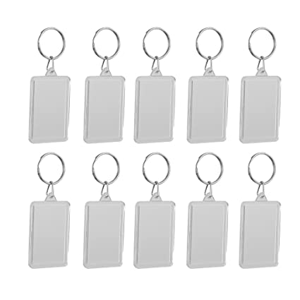 MagiDeal Pack of 10 Blank Clear Acrylic Keyrings-Make Your Own Photo  Keychains-Insert Any Photos - clear, 2 8x4 9cm