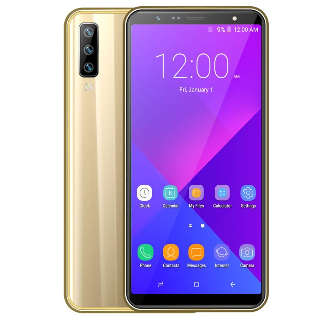 Unlocked Smartphone Global 3G, Android 8.0 OS, MT6580 Quad-Core, 1G+16G Extended Memory 128G GPS WiIFI, 2MP+5MP Cameras, Dual Sim, Unlocked Cell Phones (Gold)