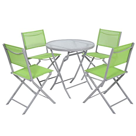 Giantex 5 PCS Bistro Set Garden 4 Folding Chairs Table Outdoor Patio  Furniture (Light Green