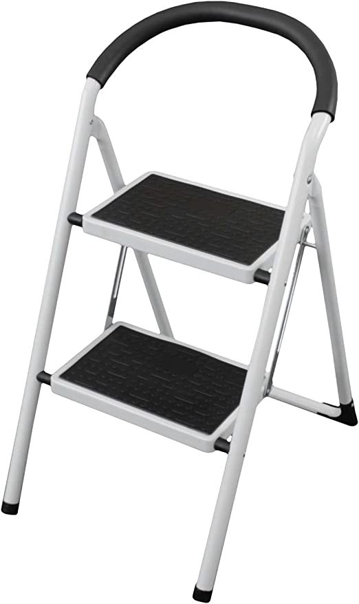 Plegable Paso Escalera con 2 pasos plegable de acero con cubierta ...