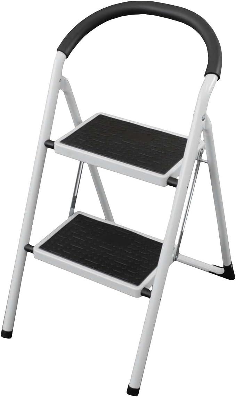 Plegable Paso Escalera con 2 pasos plegable de acero con cubierta de plástico blanco escalera paso escalera hogar escalera multiusos escalera escalera 2 peldaños): Amazon.es: Hogar