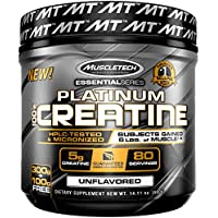 MuscleTech Platinum 100% Creatine Ultra-Pure Micronized Creatine Powder, Unflavored, 14.11 Oz
