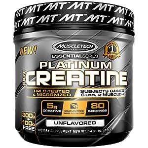 MuscleTech Platinum 100% Creatine, Ultra-Pure Micronized Creatine Powder, Unflavored, 14.11 Oz (400 Grams)