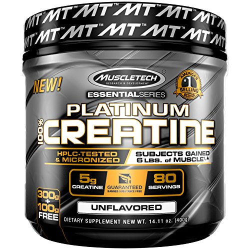 MuscleTech Platinum 100% Creatine, Ultra-Pure Micronized Creatine Powder, Unflavored, 14.11 Oz (400 Grams) (Packaging May Vary)