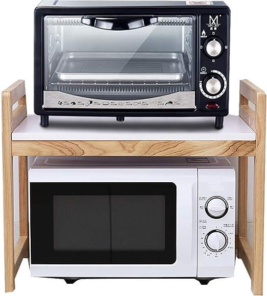 QINGJIU Estante de cocina de madera maciza Horno de microondas ...