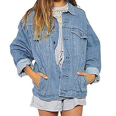f063e86302da Manteau en Jeans Femme Denim Hiver Loisirs éLéGant Vintage Veste Ado Fille  à La Mode Ample