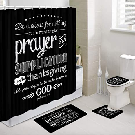 Amazon Com Inspirational Quote Bathroom Sets With Shower Curtain And Rugs And Accessories Vintage Christian Bible Verse Scripture Quotes Shower Curtain Bath Rug Toilet Mat Toilet Lid Cover And 12