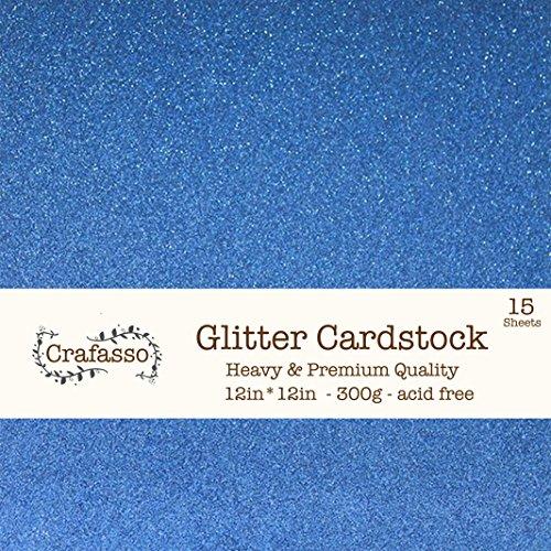 Crafasso 12 x 12 300gms Heavy & Premium Glitter cardstock, 15 Sheets, Marine