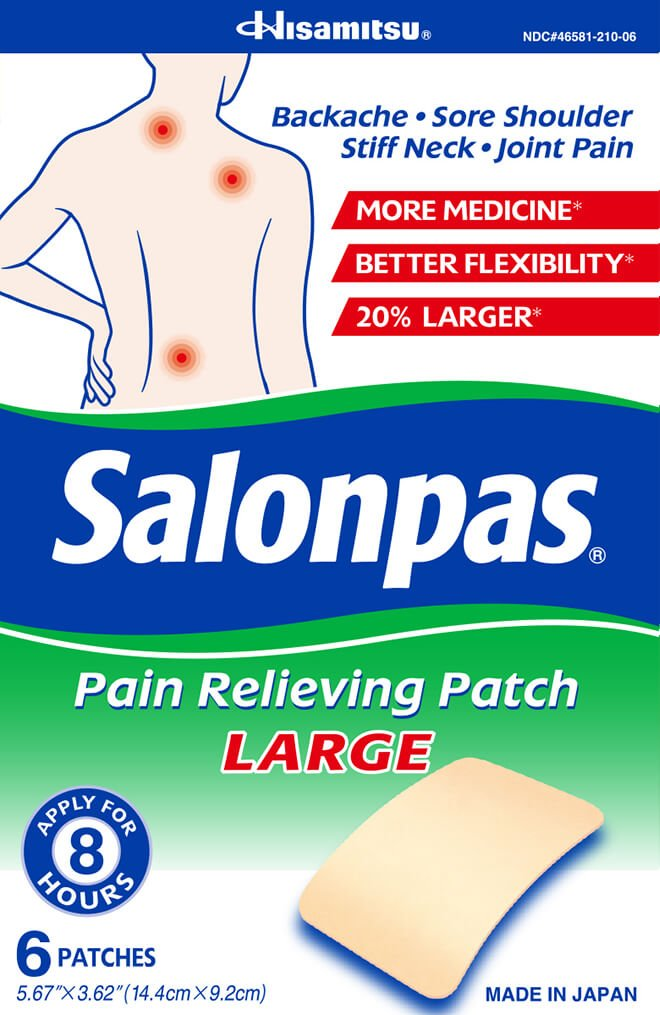 Salonpas Pain Relief Patch Large  6 count (Pack of 25)