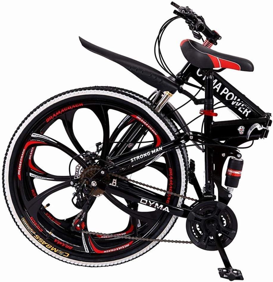 "26/"" Folding Mountain Bike Full Suspension Bicycle 21 Speed Mens Bike Double Disc"