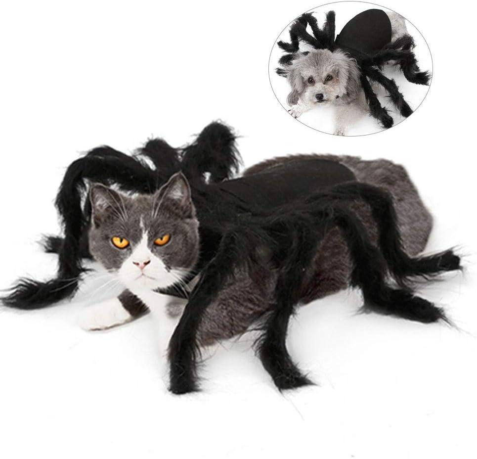 Disfraces de Halloween para Perros y Gatos Disfraces de Cosplay, Simulación de Peludo Gigante Simulación de arañas Trajes para Divertidos Disfraces de Perros Perros Gatos (Tamaño:
