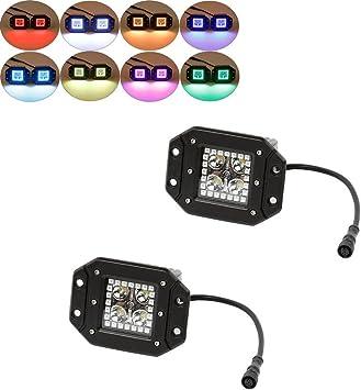 Pair LED Work Light Bar Flood Fog Light  Flush Mount with RGB Halo /& Harness