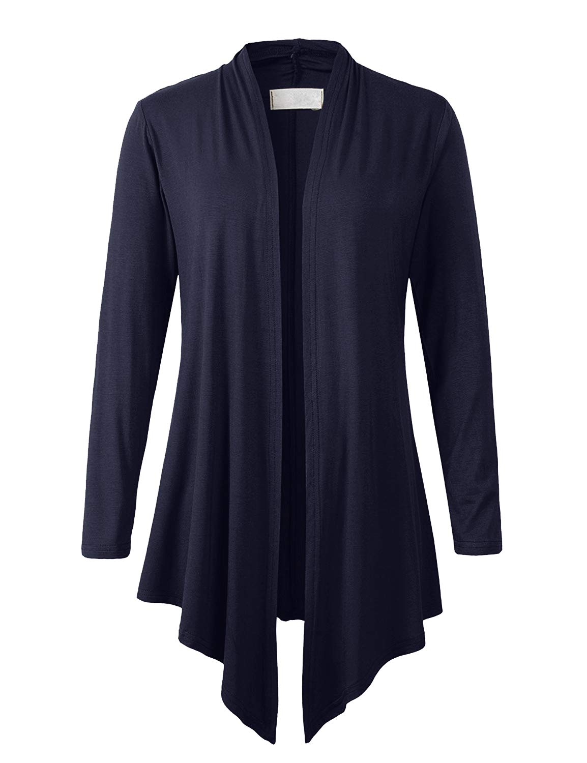 Eanklosco Women Open Front Cardigan Plus Size Drape Long Sleeve Coat (Navy Blue, XL)