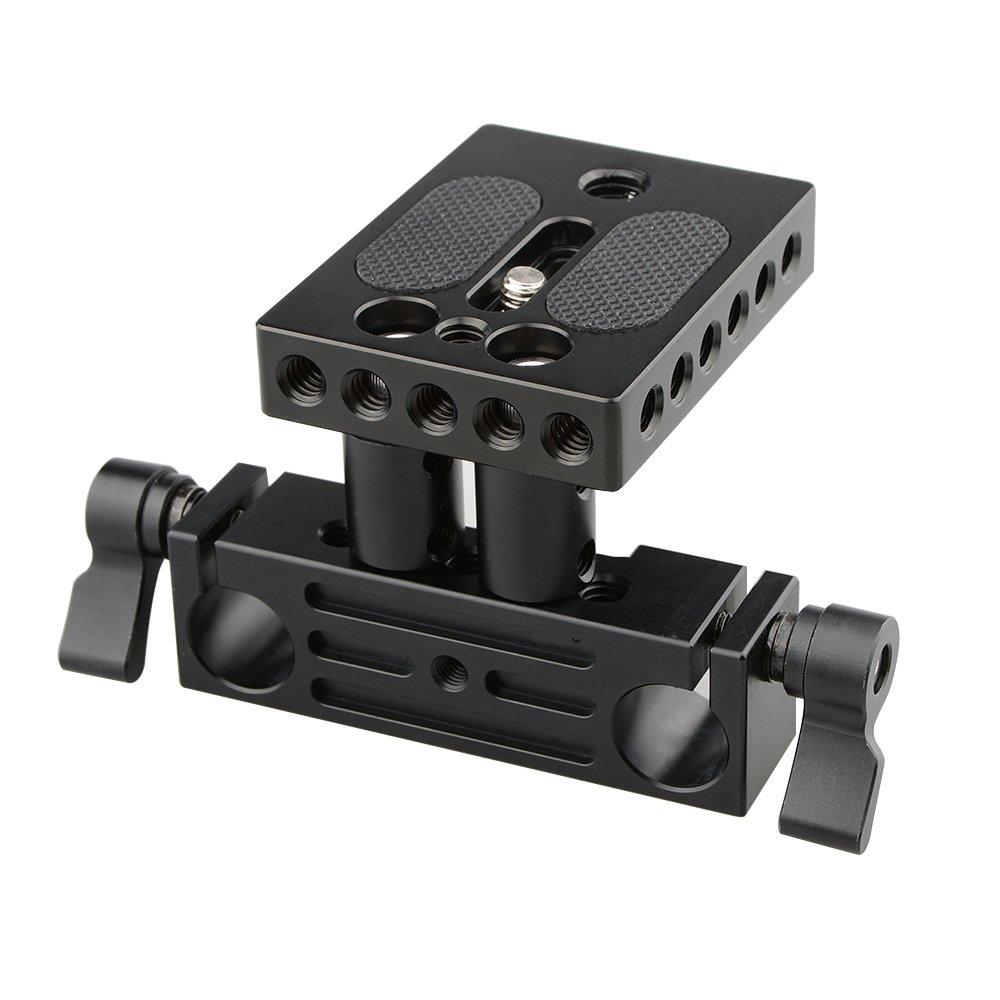 camvate DSLRベースプレートマウントwith Railblock高さライザーfor 15 mmレールロッドサポートシステム   B0746FSVCX
