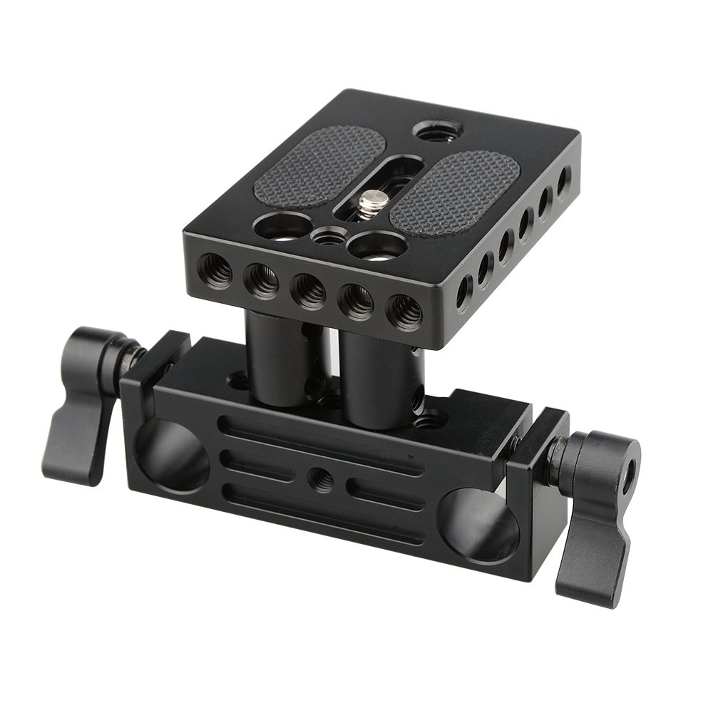 CAMVATE DSLR Baseplate Mount with Railblock Height Riser for 15mm Rail Rod Support System