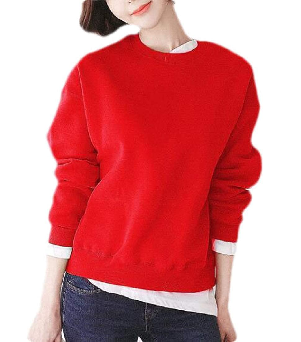 BYWX Women Pullover Casual Long Sleeve Crewneck Top Fleece Sweatshirt Tops