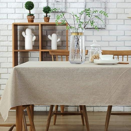 Morbuy Rectangle Mantel de Lino de algodón Antimanchas, Color Puro ...