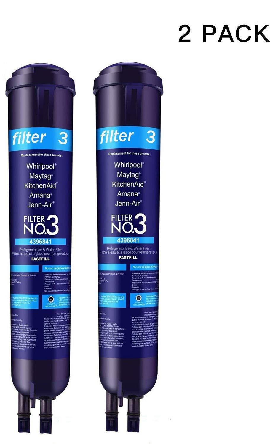SHJZSY Refrigerator Water Filter3 4396841 EDR3 RXD1 4396710 9030 Filter3 (2pack)