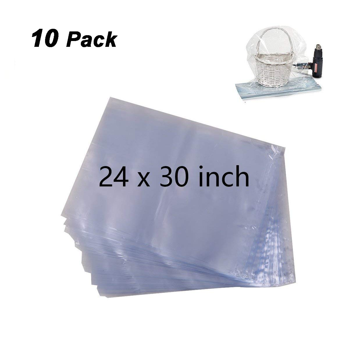 Morepack Clear Cello/Cellophane Basket Bags for Gift Wrap, 24x30inch (10)