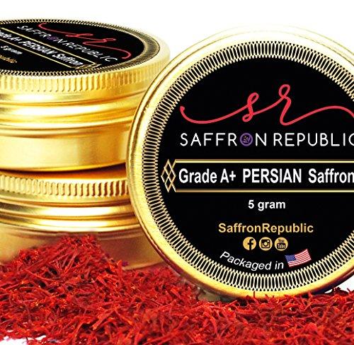 Saffron Republic Persian Saffron Spice (5 Grams) by Grade A+ Fresh Organic Saffron Threads, 0.18 Oz Pure Saffron Filaments by Saffron Republic