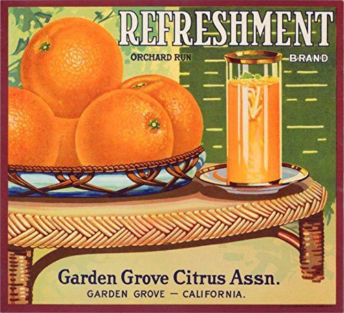 A SLICE IN TIME Garden Grove Orange County, California - Vintage Refreshment Brand Orange Citrus Fruit Crate Box Label Travel Advertisement Art Print. Measures 10 x 11 inches ()