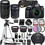 Canon EOS 6D Mark II DSLR Camera w/ 5 Lens Bundle including EF 24-105mm f/3.5-5.6 IS STM + 2.2x Telephoto & 0.43x Aux Wide Angle Lens + 2Pcs 32GB SD + Accessories with Premium Commander Kit (30 Items)