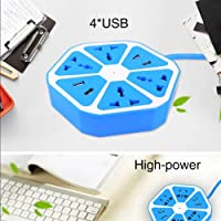 Heavy Duty Hexagon Electrical Extension Cord Power Socket with 4 USB Port for Computer with 2 Meter Wire 4 Socket Surge Protector Spike Strip Guard Extension Board
