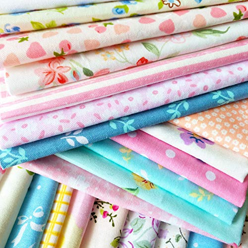 flic-flac 50pcs 12 x 12 inches (30cmx30cm) Cotton Fabric Squares Quilting Sewing Floral Precut Fabric Square Sheets for Craft Patchwork