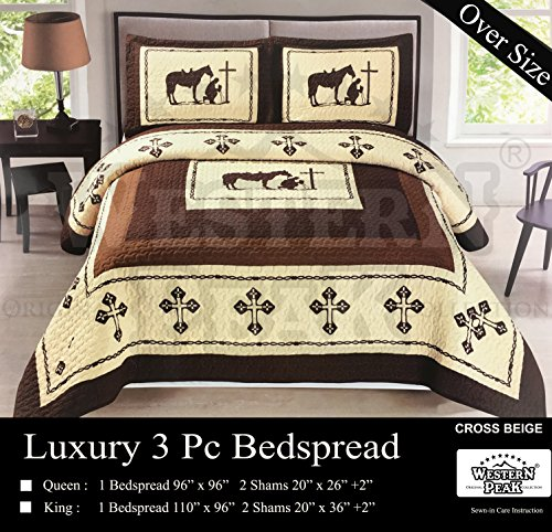 Cowboy Twin Quilt (Western Peak 3 Pc Luxury Western Texas Cross Praying Cowboy Horse Cabin Lodge Barbed Wire Luxury Quilt Bedspread OVERSIZE Comforter (Twin, Beige Brown))